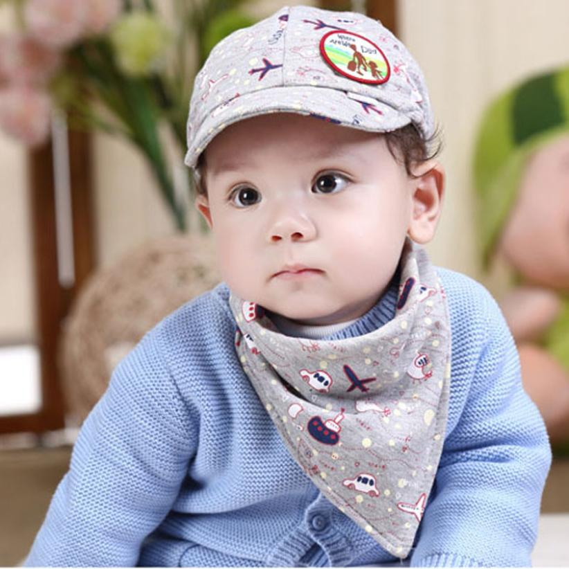 baby feeding bibs 2016 Cute Fashion Baby Girls Boys Kids Hat Bibs Suit Visor Grey kids bandana baby stuff acessorios infantis