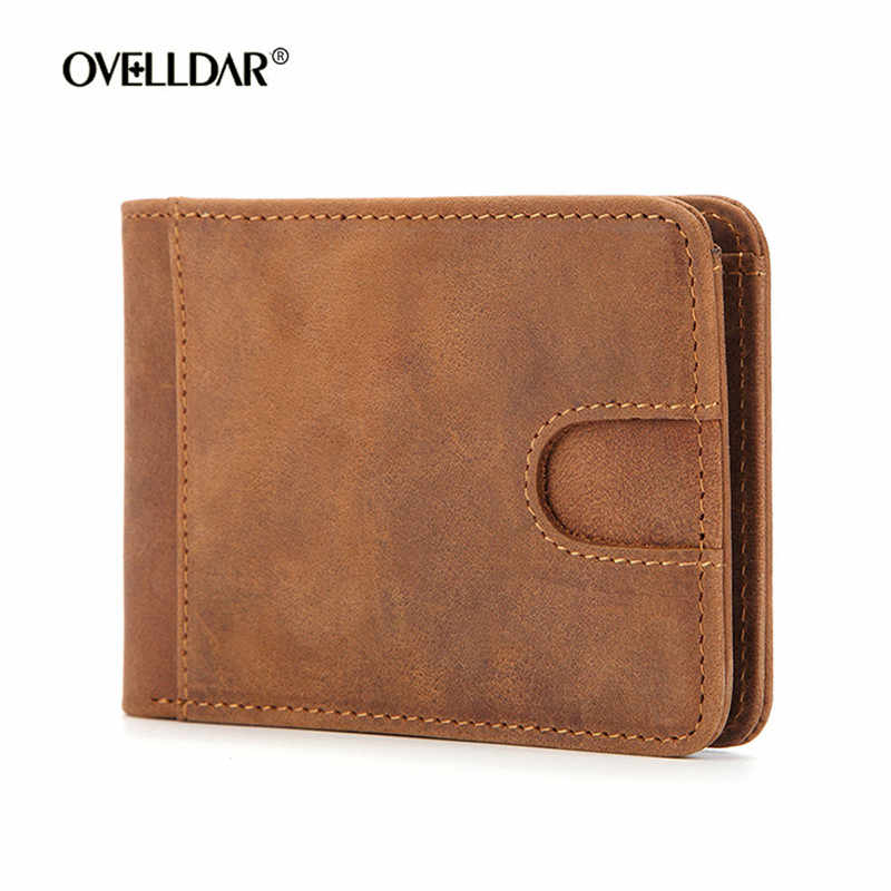 New Men RFID Blocking Slim Wallet Thin Minimalist Front Pocket Wallet Men Real Leather Credit Card Money Clip for Man