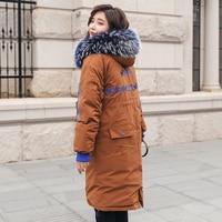 Long Parkas Women Winter Coat Large Fur Collar Jacket Female Warm Outwear Thin Padded Cotton Jacket Coat Women Clothing