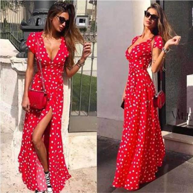 Liva menina do Verão Das Senhoras Vestido Longo Red White Dot Vestido de Praia Vestido Maxi Vestidos de Festa de Noite Das Mulheres Vestido Vestido de Verão festa2019