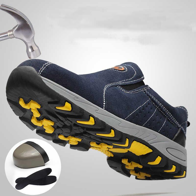 Защитная Рабочая обувь со стальным носком для мужчин; коллекция 2019 года; летние дышащие ботинки без застежки для работы; повседневные ботинки; Рабочая обувь; прокалывающая обувь