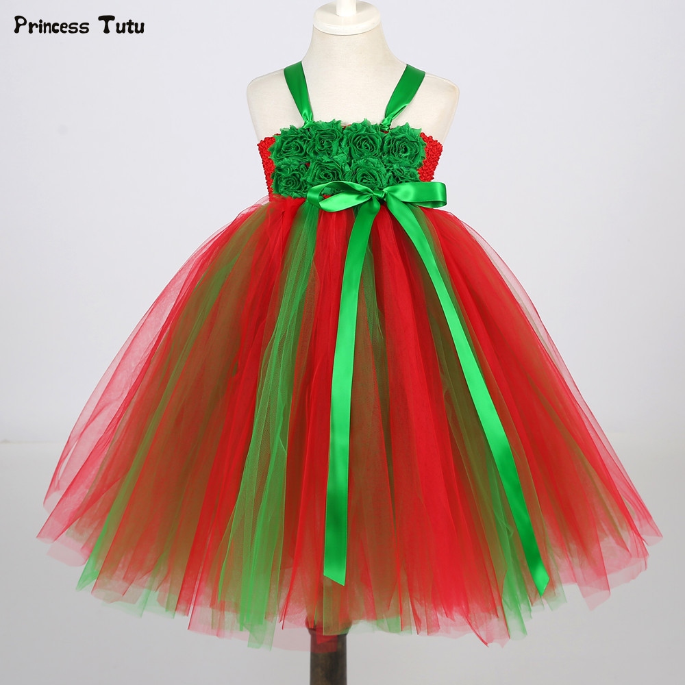 Children Girls Christmas Dress Clothes Xmas Costume Baby Flower Tutu Dress Girl Kids Tulle Party Dresses Christmas Ball Gowns baby cartoon flower pattern dress high quality tulle tutu clothes girl christmas costume girl dresses for party and wedding 2017