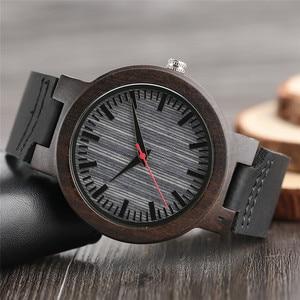 Image 3 - 腕時計黒檀木製腕時計メンズヴィンテージクォーツ手作りウッドクロック付き本革ストラップ腕時計ギフトリロイデ·マデラ