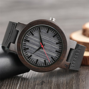 Image 3 - Watches Ebony Wooden Watch Mens Vintage Quartz Hand made Wood Clock with Genuine Leather Strap Wristwatch Gift Reloj de madera