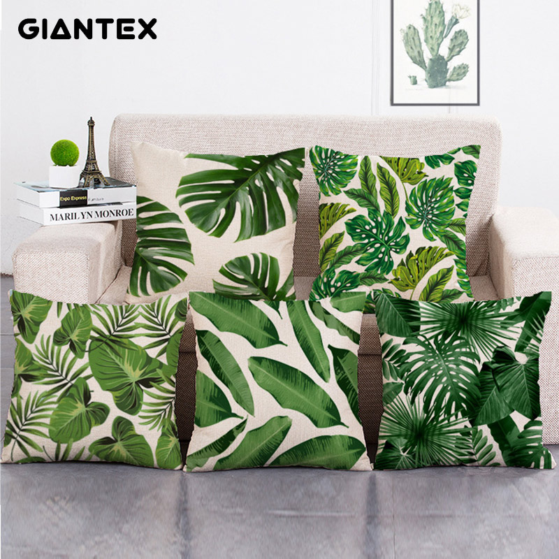 GIANTEX Tropical Plants Pattern Linen Cushion Cover Decorative Pillowcase Home Decor Sofa Throw Pillow Cover 45x45cm U1337