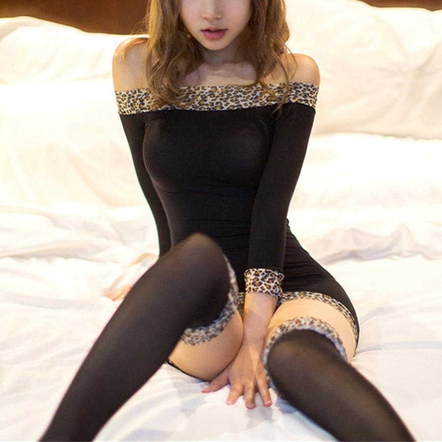 Sexy Leopard Bodysuit Lingerie Hot Plus Size Women Transparent Lace Teddy Sleepwear Costumes Halter Babydoll Underwear