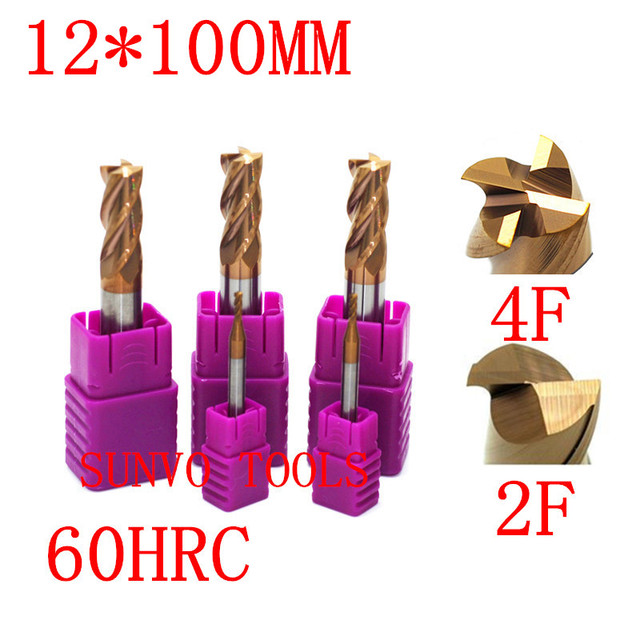 4F 2 flutes D12x100MM 12MM HRC45 HRC50 HRC55 CNC Tool Tungsten Carbide End Mill R6 ball end End Mill Aluminum milling cutter