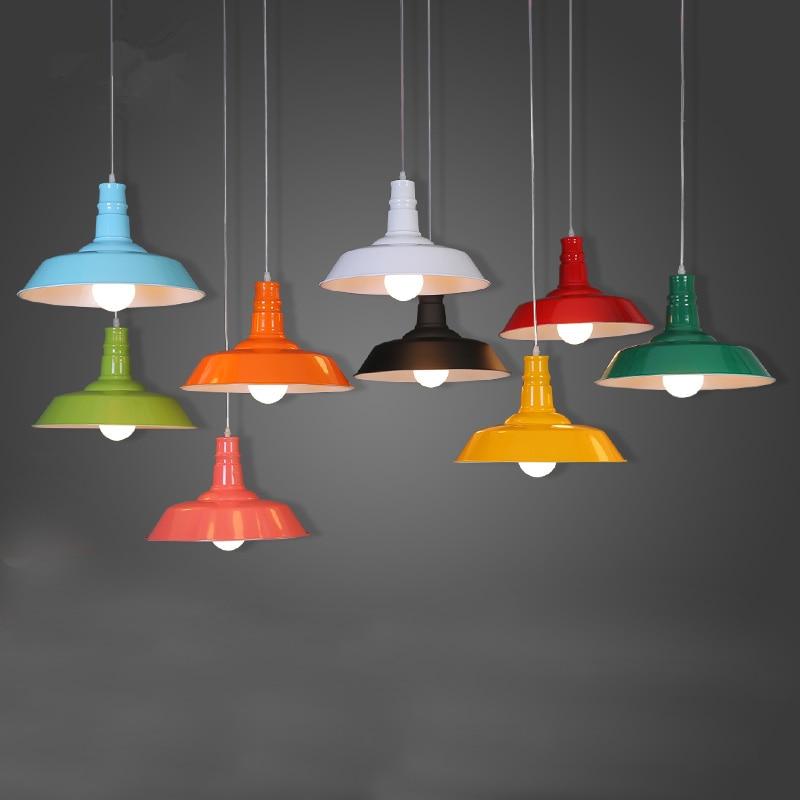 Retro Loft LED Vintage Pendant Lamp Dining Room Creative Pendant Light Home Living Room White/Black/Brown/Green/Blue/Red PLL-244