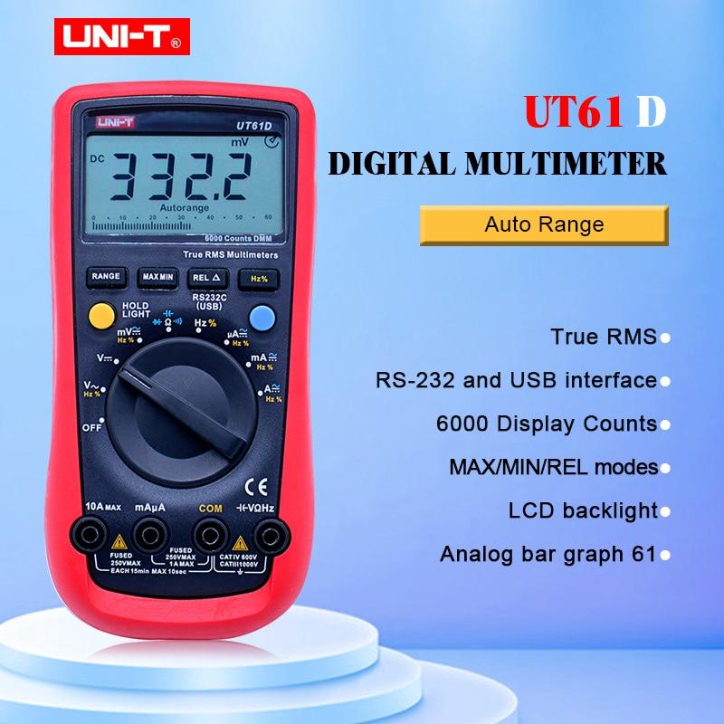 Digital Multimeter UNI T UT61D True RMS Auto Range 6000 Counts Modern Digital Multimeters ACDC Meter