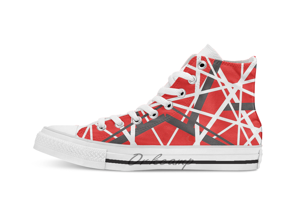 EVH 5150 STRIPES Novelty Design Breathable Casual High Top Lace-up Canvas Shoes Sneakers