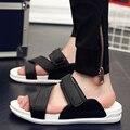 Casual marca famosa nuevo 2016 hombres sandalias zapatos zapatillas de verano flip flop Playa Zapatos Sandalias de Cuero de Los Hombres Zapatos hombre