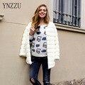 YNZZU Элегантный искусственного меха пальто женщин Пушистый теплый с длинным рукавом женский верхняя одежда Белый chic осень зима куртки пальто волосатые пальто YO096