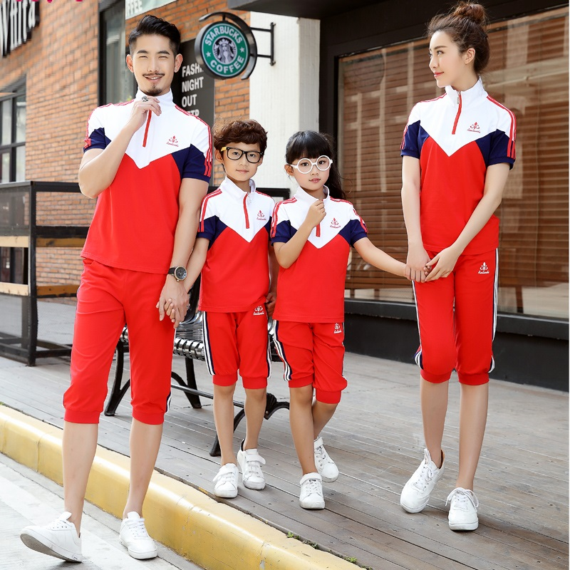 Summer Active Family Clothing Sets Cotton T Shirts Shorts 2 Pieces Mother Daughter Father Son Clothes