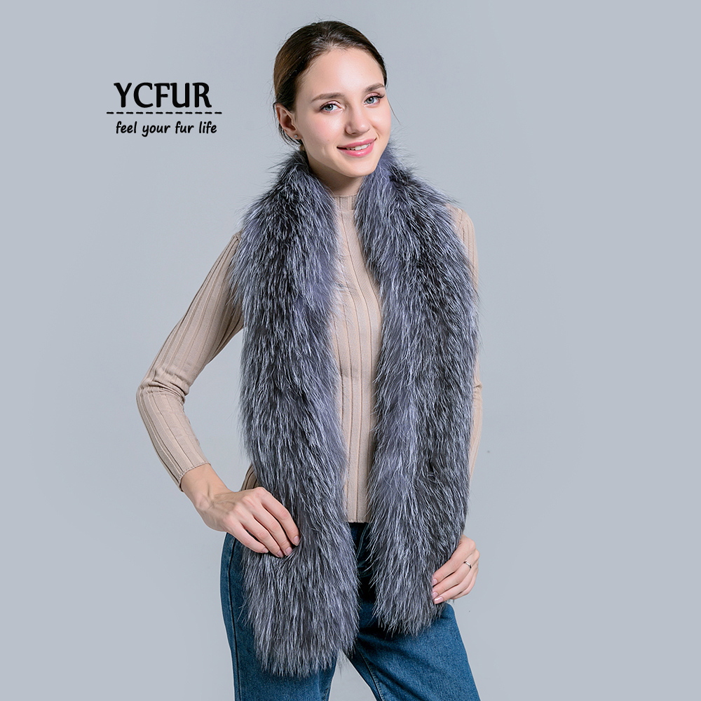 YCFUR Fashion Women   Scarf     Wrap   Winter Brand Design Knit Fox Fur Long   Scarves   For Women Winter Real Fur   Scarves   Shawls Ladies