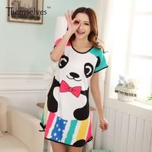 Summer Women Cute Cartoon Printed Sleepwear Loose Nightwear Short Sleeve Sleepshirt Sleeping Shirt DressChina