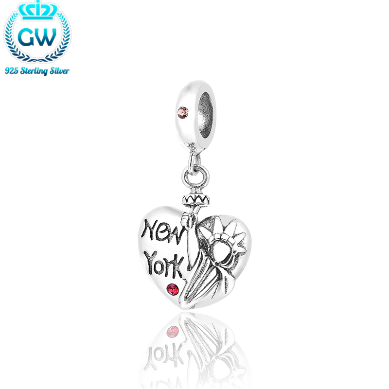 US $13 71 25% OFF|Charms Silver 925 Original 2015 Silver New York Charms  Love Heart Shape Brand Jewelry Handmade Friendship Bracelets S260-in Charms