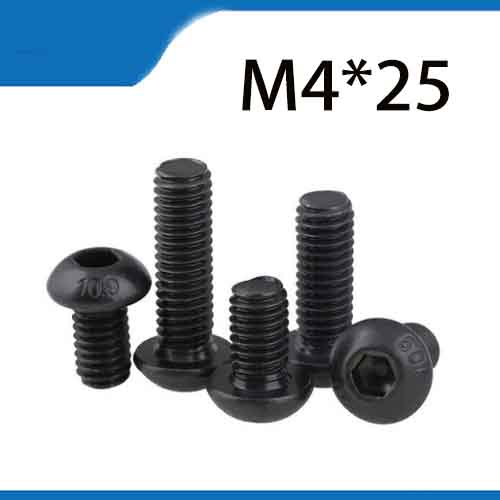 Free Shipping 100pcs <font><b>M4x25</b></font> mm M4*25 mm yuan cup Half round pan head black grade 10.9 carbon Steel Hex Socket Head Cap Screw image