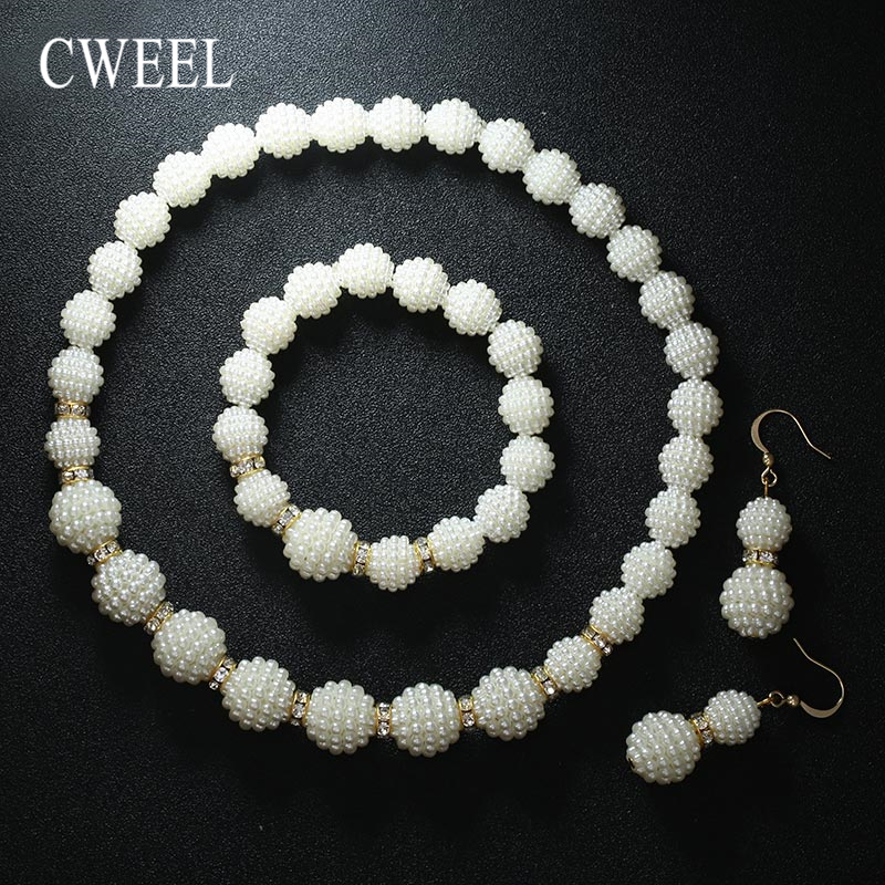 CWEEL Wedding Jewelry Sets For Women Brides African Beads Jewelry Set Simulated-Pearl/Crystal Beaded Gold Color Jewellery Set