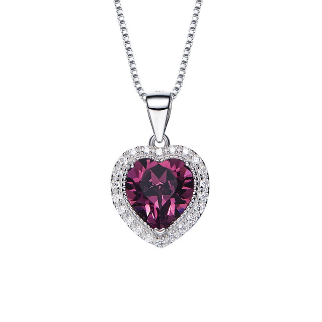 a8469090a418f4 love heart february birthstone pendant necklace crystals from SWAROVSKI 925  sterling silver necklaces for girls jewelry