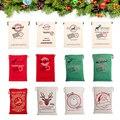 10 шт./Лот, мешки для Санта-Клауса, Рождественская Подарочная сумка, Холщовый Хлопковый мешок для подарков с Санта-Клаусом, мешок для Санта-Кл...