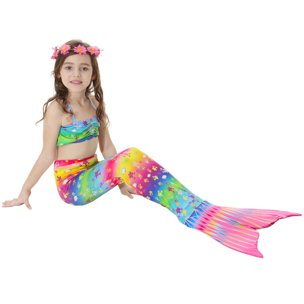 2018 New Girls Swimming Suit Mermaid Tail Costume Kids Mermaid Tails For Children Swimmable Bikini Mermaid Kid Swimwear Dress