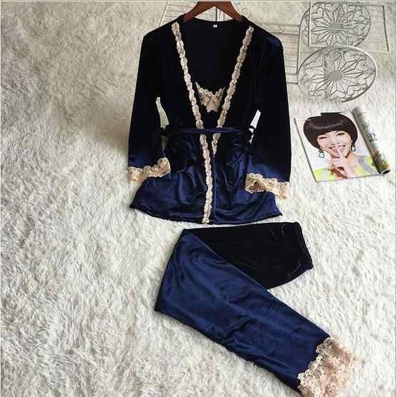 Fdfklak Лидер продаж осень зима пижамы для женщин Пижама женщин Pijamas золото бархат комплект пижамы наборы ухода за кожей Домашняя одежда Q568