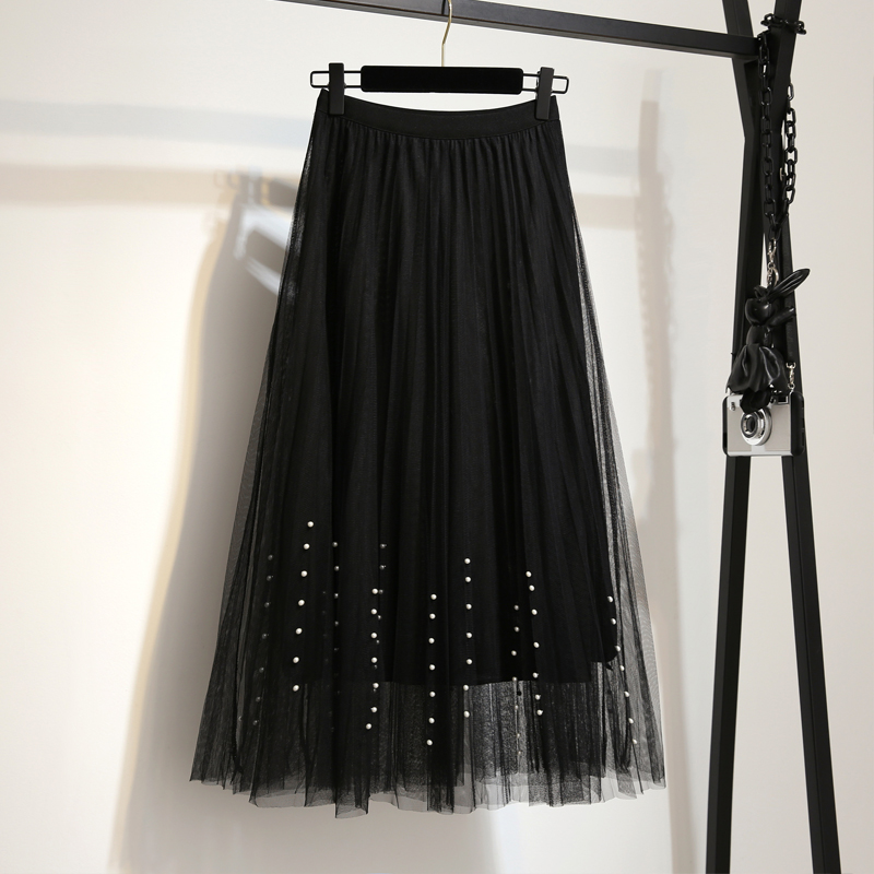 New 2019 Spring Summer Skirts Womens Beading Mesh Tulle Skirt Women Elastic High Waist A Line Mid Calf Midi Long Pleated Skirt 5