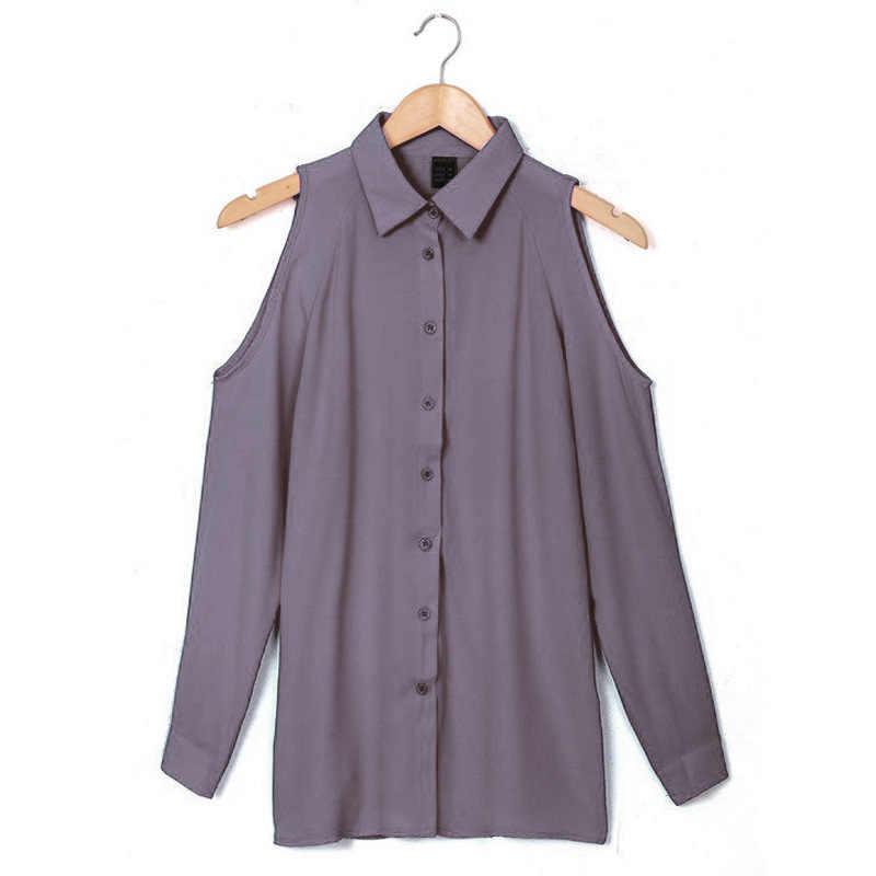 Женские рубашки осенние повседневные Элегантные шифоновый с открытыми плечами блузки женские Топы Camisa Feminina с длинным рукавом черные женские блузки