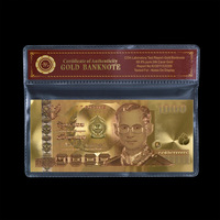 Color Thailand Gold Banknote 1000 Baht For Gold Foil Gifts Collection