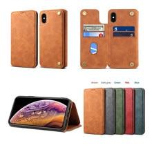 NeWisdom original for iPhone x cases xr Leather Folio Wallet Cases Apple 7 plus 8  Card Slot flip case iphone xs max cover