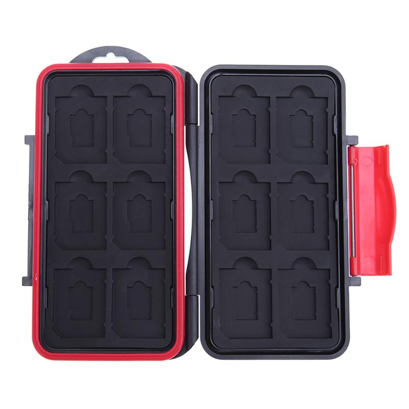 ALLOYSEED Large Waterproof Memory Card Case All In One  Anti-Shock 12SD+12TF Large Capacity Storage Holder Box Cases Black + Red