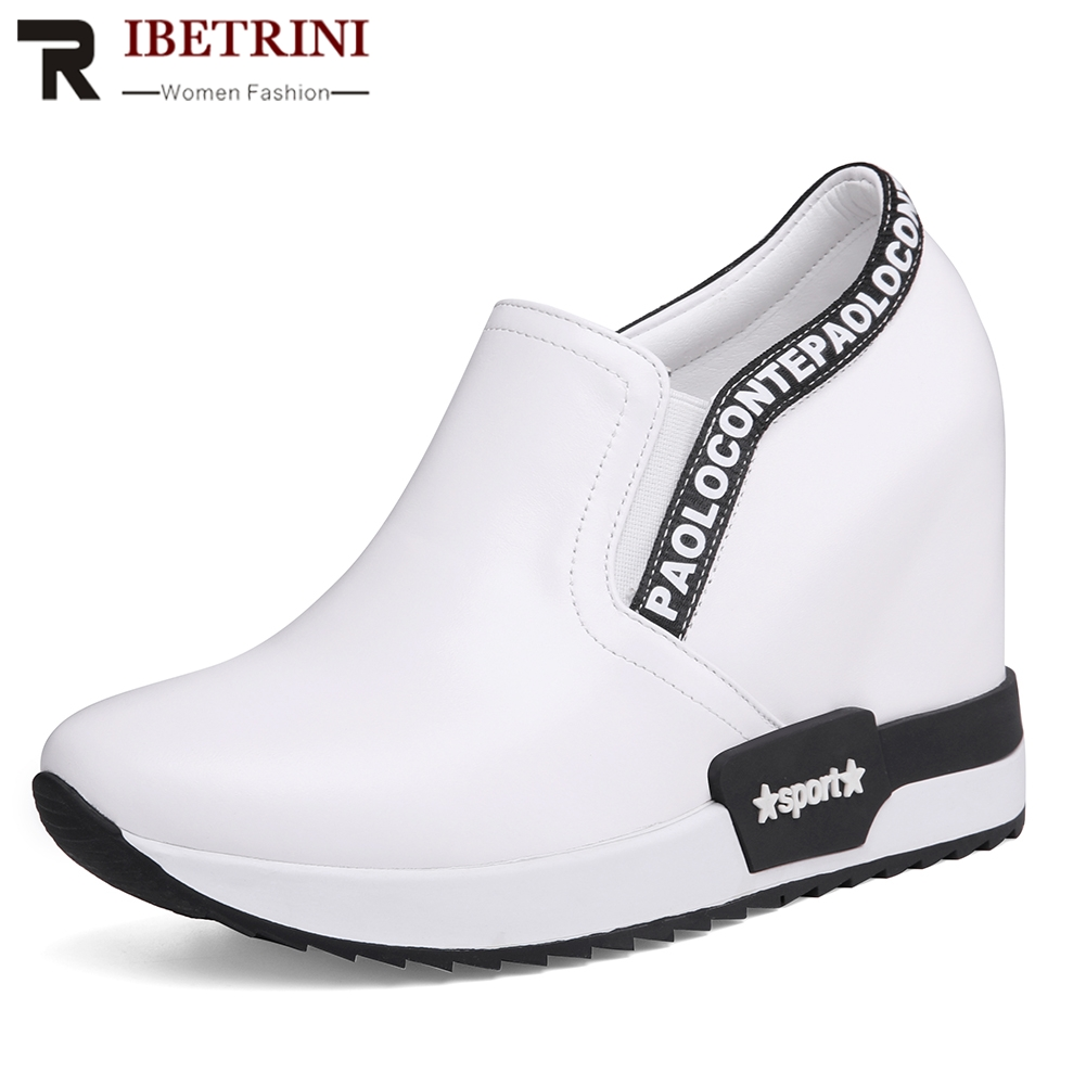 RIBETRINI 2019 New INS Hot Fashion Slip On Sneakers Genuine Leather Shoes Woman Casual Wedges Shoes Women Size 32-40RIBETRINI 2019 New INS Hot Fashion Slip On Sneakers Genuine Leather Shoes Woman Casual Wedges Shoes Women Size 32-40