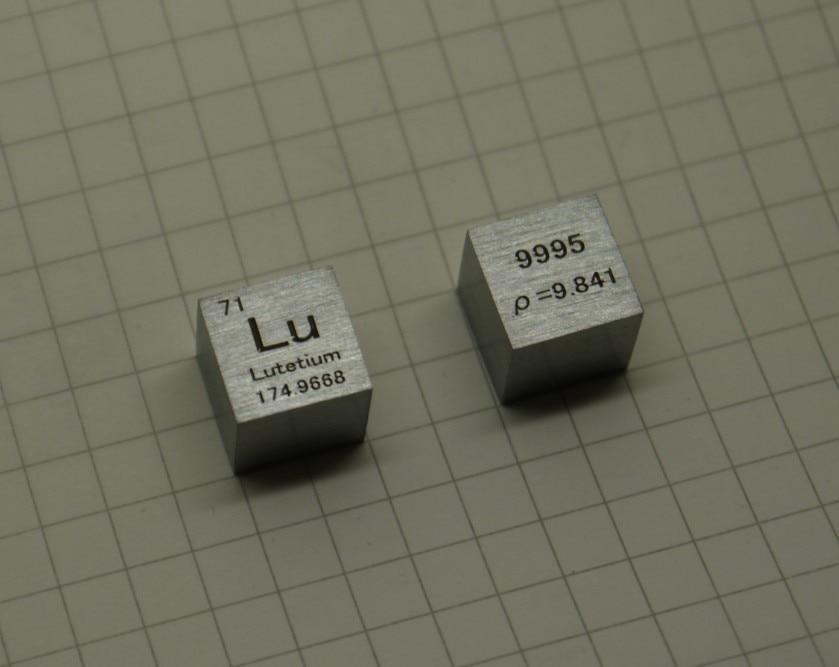 99.95% High Purity Lutecium Lu 9.9g Carved Element Periodic Table 10mm Cube lu lutetium lutecium 3n5 bulk glass seal pure 99 95