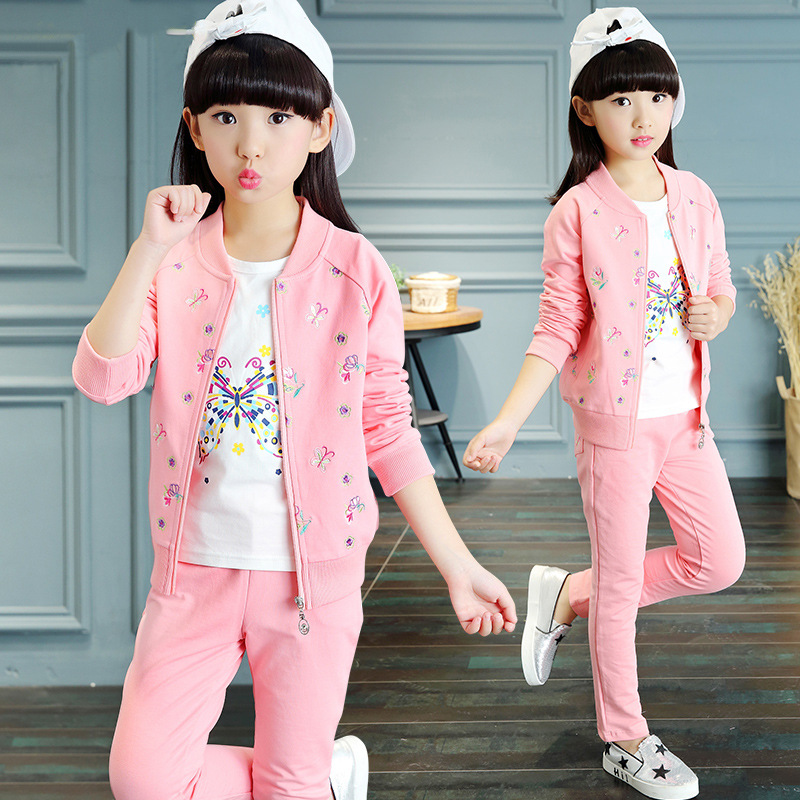 2017 New Kids Girls Spring and autumn Section Korean Leisure Three Sets of Large Children Sports Suit Sweater Fashion