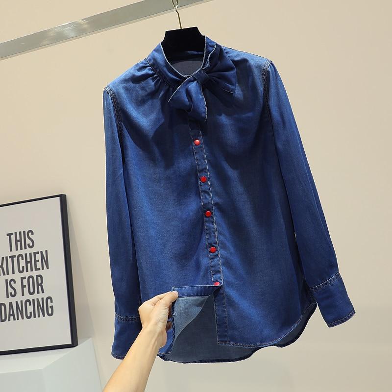 Camisa Largo Azul Mariposa Otoño 2019 Bf Coreano Denim Mujeres Primavera Abrigo Nudo Temperamento Las Jean De Suelto Estilo Estudiantes Camisas Mujer aPERc8qnn