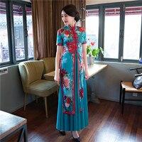 הקיץ אופנתי ארוך גבירותיי אלגנטית Slim סאטן הסיני Cheongsam Qipao זהורית חידוש dress vestidos גודל s m l xl xxl xxxl 27594a