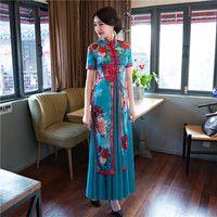 Summer Stylish Long Cheongsam Chinese Ladies Elegant Slim Satin Rayon Qipao Novelty Dress Vestidos Size S