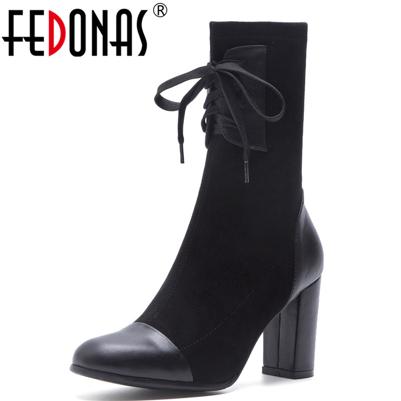 FEDONAS Fashion Brand Mid calf Boots High Heels Socks Boots Party Wedding Sexy Round Toe Shoes
