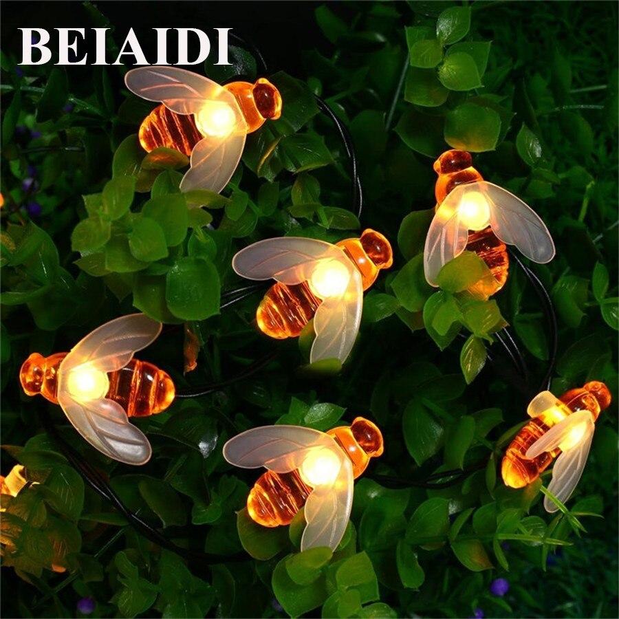 BEIAIDI 5M 20LED Cute Bee Shape Led Light String Solar Led String Fairy Lights Outdoor Bee Garden Fence Summer Decoration Light ландшафтное освещение 2 5ag 20led