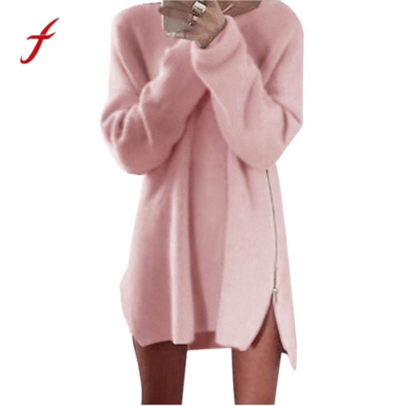 Feitong Spring Autumn Pullover Women Side Zip Chunky Knitted Baggy Long Sweater Dresses Jumper Women's Sweaters Dress Vestidos