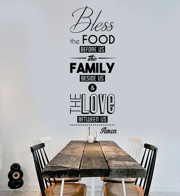 Removable Vinyl Wall Decals Bless The Food Prayer Dining Room Decoration  Kitchen Stickers Art Mural For