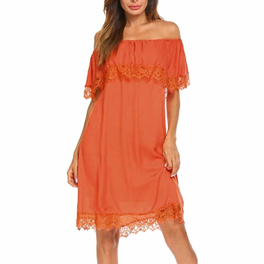 オフショルダーカジュアルドレスガールソリッド夏ドレスとサンドレスレースセクシーなミニサンドレスドレス sukienka vestidos # G6