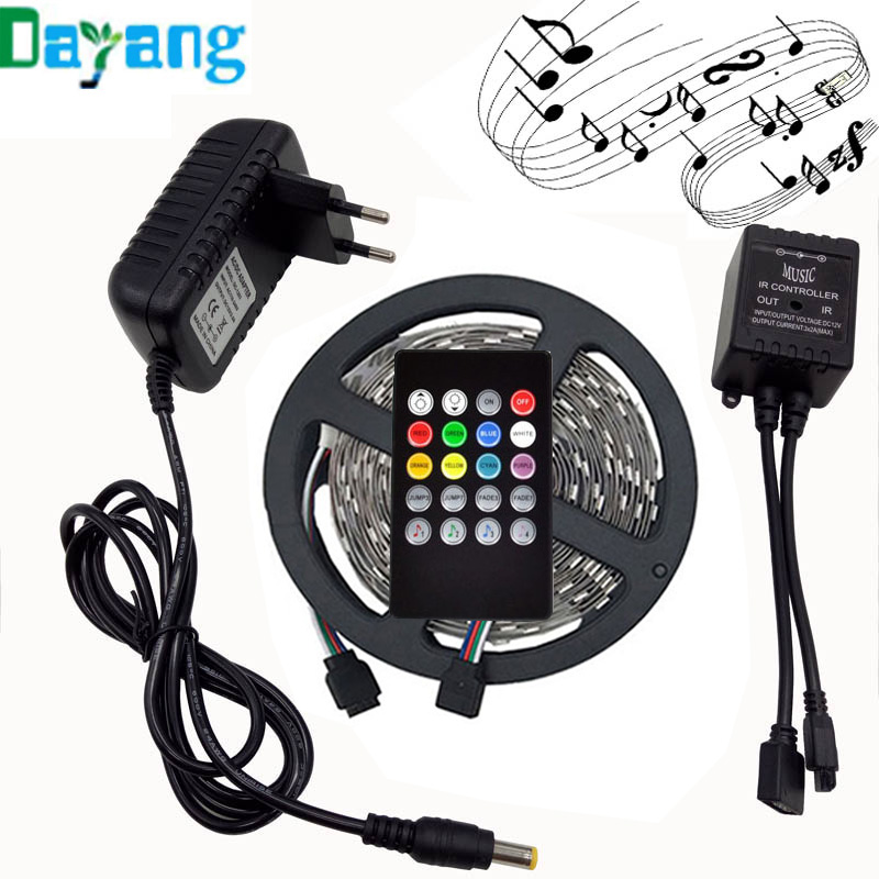 RGB LED Strip Light 5050 10M 5M 30Leds/m led Tape Waterproof diode ribbon 44Key/24Key/Music Remote Controller DC12V adapter set rgb led strip smd 5050 rgb 5m diode tape with 20 keys music ir remote controller 12v 3a power adapter flexible decoration light