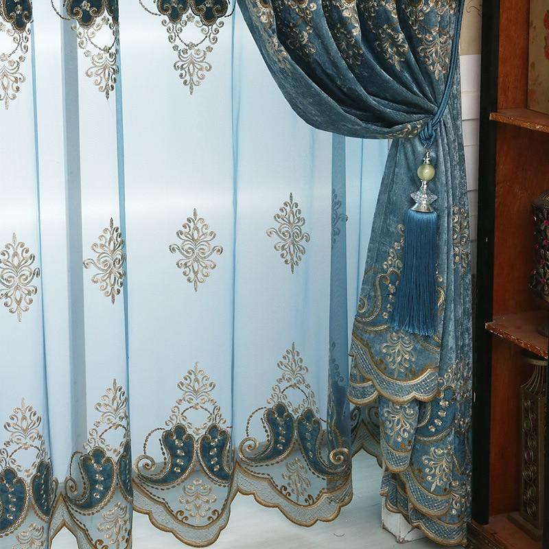 US $11.09 37% СКИДКА|Роскошные шторы тюль для гостиной Европейский синий синель вышивка бархат Тюль Спальня украшение панель окно|Занавеска| |  - AliExpress