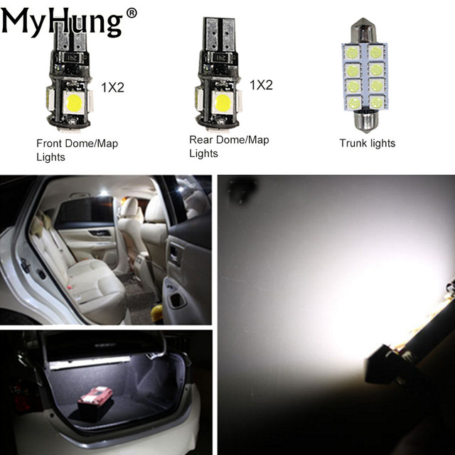 For Ford Explorer Convenience Bulbs Car Led Interior Light C10w W5w Replacement Dome Lamp Bright White 5pcs Per Set