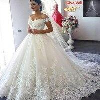 Vestido de Noiva/2019 свадебные платья принцессы Наплечная аппликация для женской футболки кружевное милое бальное платье свадебное платье с вуалью