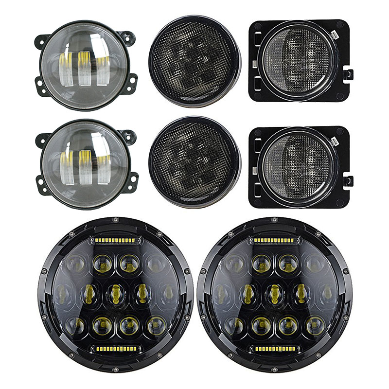 7'' Headlights DRL Hi/Lo Beam + 4 Inch Fog lamp + Front Grille Turn Signal Lights + Fender Side Maker Lamps for Jeep Wrangler JK 1pair led side maker lights for jeeep wrangler amber front fender flares parking turn lamp bulb indicator lens