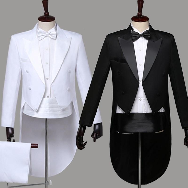 Marke Dünne Leiter Magier Zeigen Terno Masculino Herren Weiß Elegante Hochzeit Bräutigam 4 Stück Smoking Anzüge jacke + Pants + Blet + Krawatte