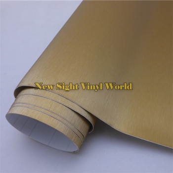 High Quality Gold Brushed Aluminum Wrap Vinyl For Car Decals With Air Bubble Free Size: 1.52*30M/Roll