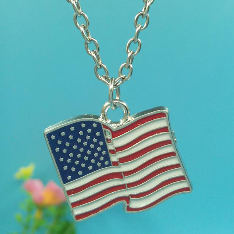 Enamel American Flag Necklace For Women Gift Charms Pendants Collar  Choker Vintage Silver Fashion Jewelry
